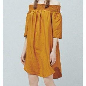 Mango mustard yellow off shoulder dress, Sz 8